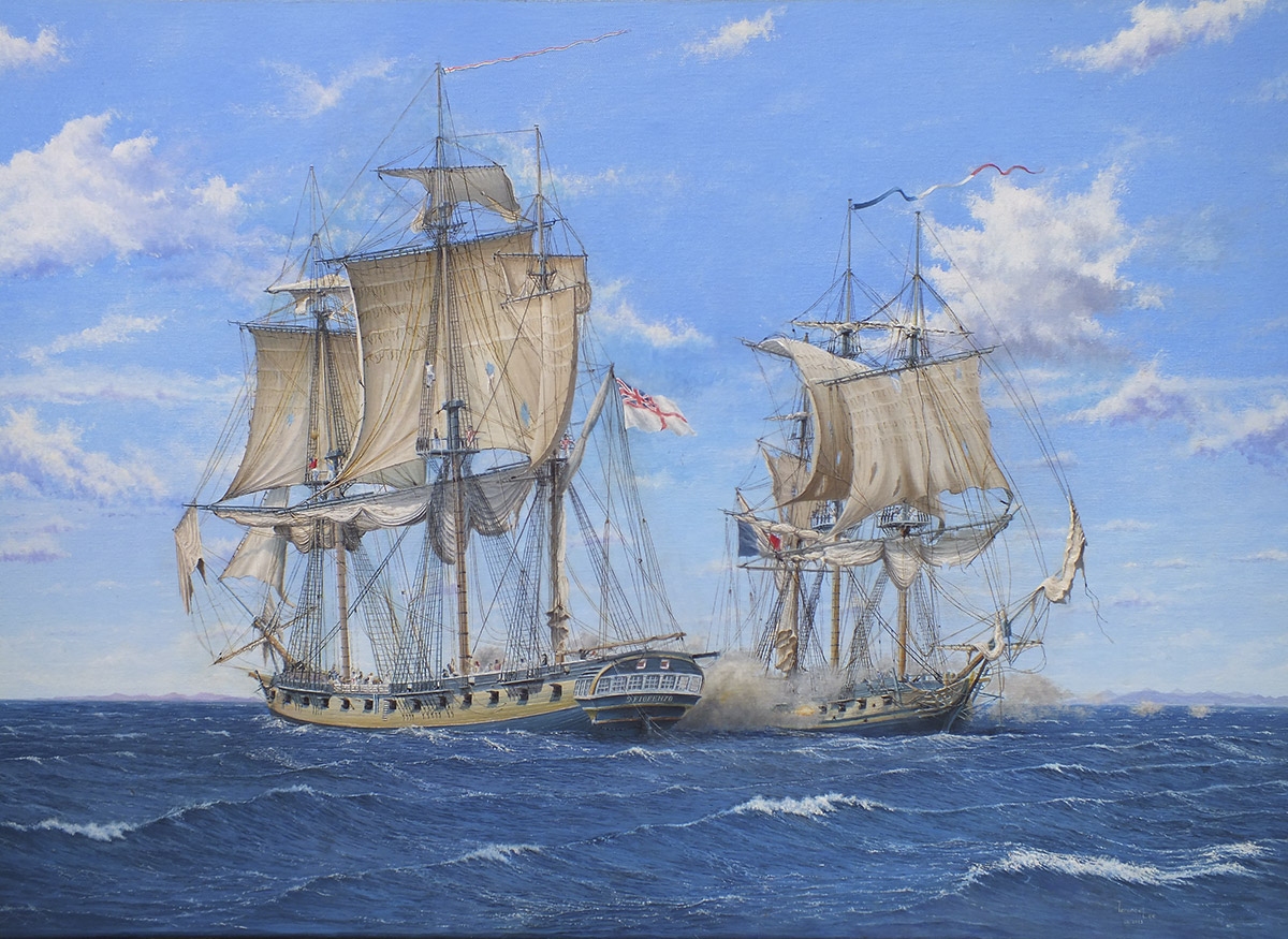 St Fiorenzo taking the Frigate Piemontaise